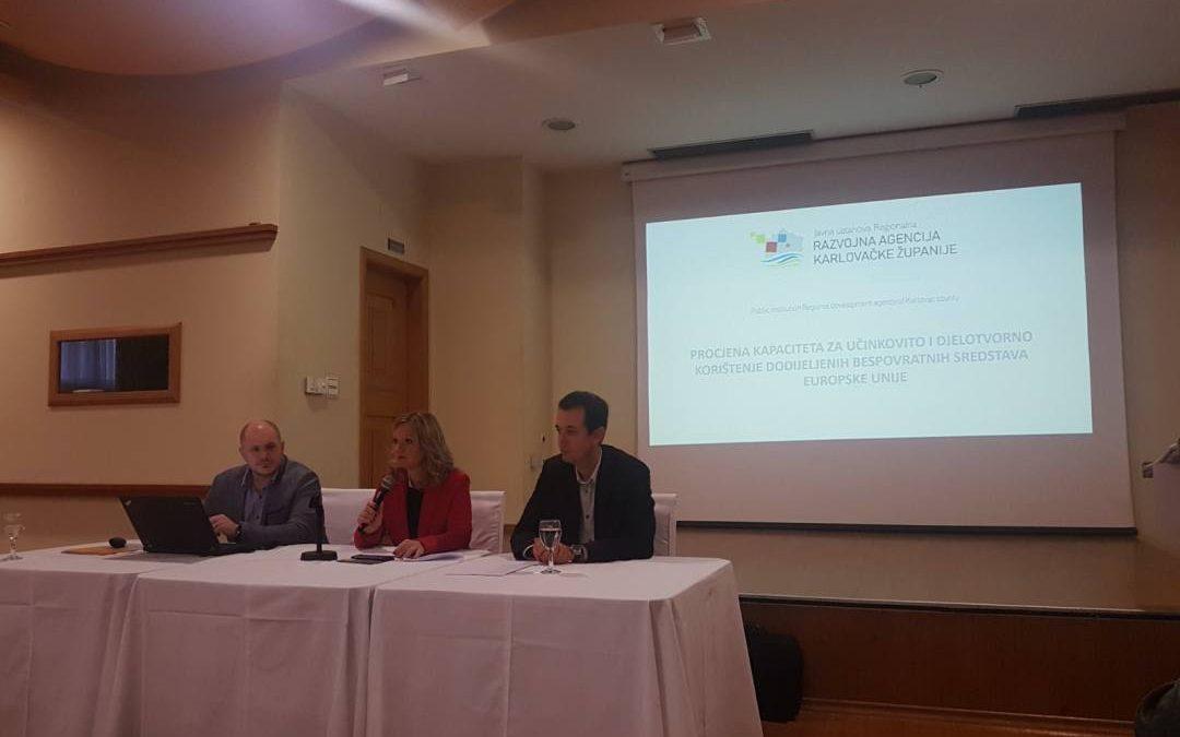Održana prezentacija na temu pripreme za novu financijsku perspektivu EU 2021-2027 i analiza apsorpcijskog kapaciteta javno pravnih tijeka sa područja Karlovačke županije