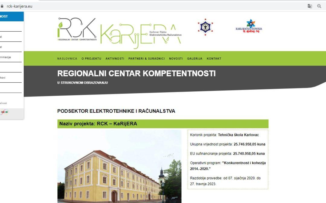 """Izrađena internet stranica projekta """"RCK-KaRijERA"""""""